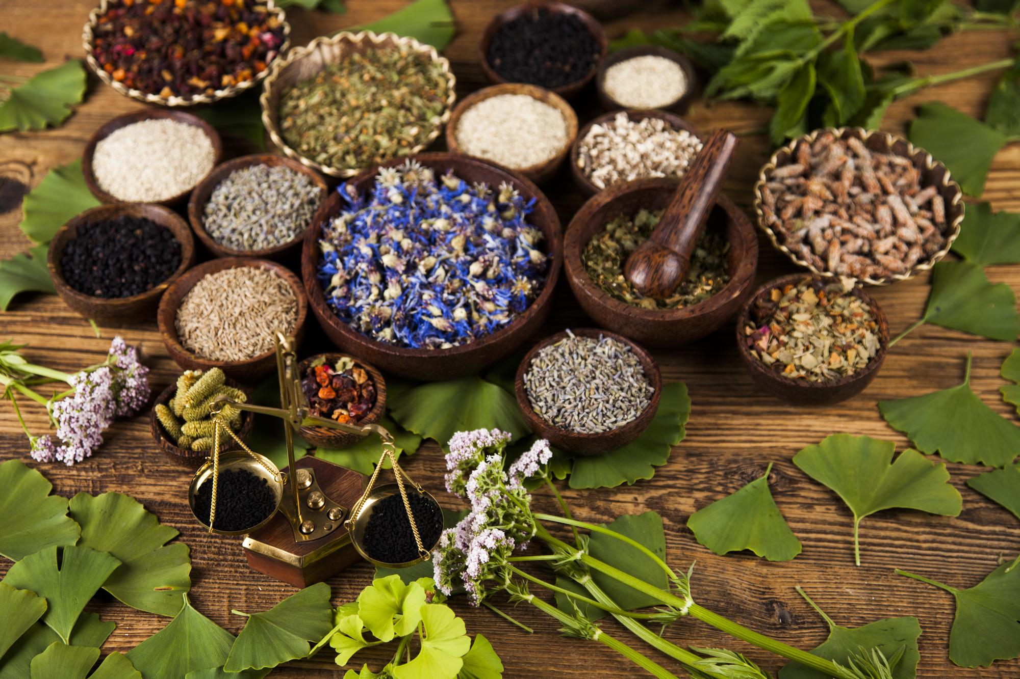 Natural medicine, wooden table background